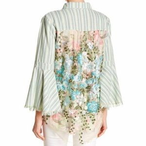 Aratta Silent Journey Green Stripe Floral Lace Top